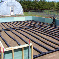 Tubing installed to heat soil