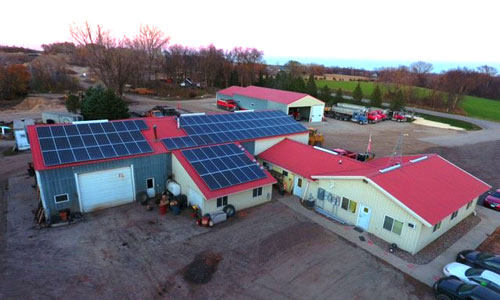 Solar PV on top of Timm's Trucking in Morristown, MN