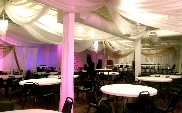 New lighting in the banquet center at Safari Restaurant on Lake Street