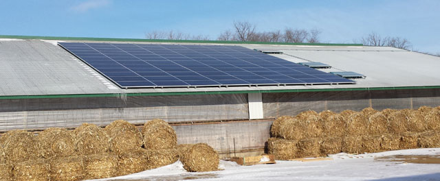 Farm in Pierz, MN with solar PV. Photo credit: Innovative Power Systems