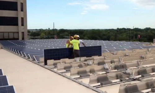Solar installation on CityVue Apartment roof