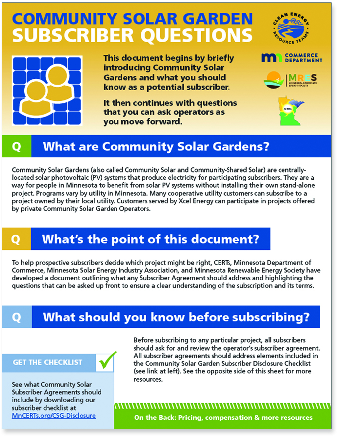 Community solar gardens clean energy resource teams for Gardening questionnaire