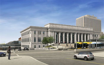 Rendering of Union Depot after completion of Light Rail