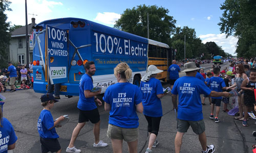 Electric school bus takes part in Lakeville Pan-O-Prog parade