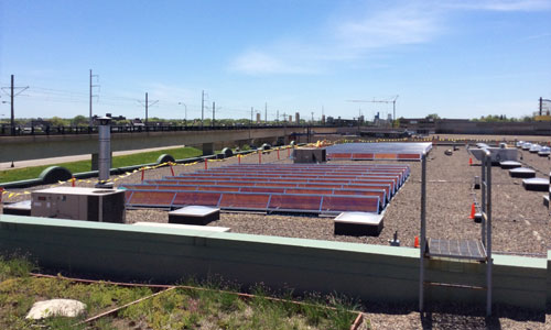 Solar array financed with PACE atop the Greenway Office Building in Minneapolis