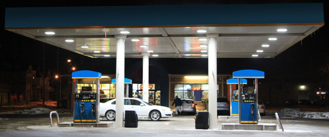 Service station with LED canopy lighting