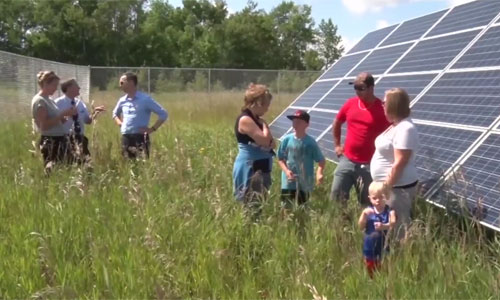 Screenshot from LPTV news segment on Leech Lake community solar gardens