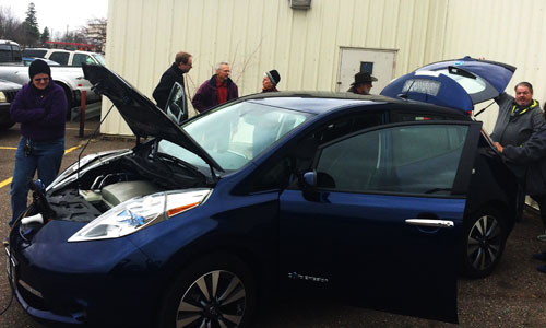 Attendees kick the tires on electric vehicles in Little Falls