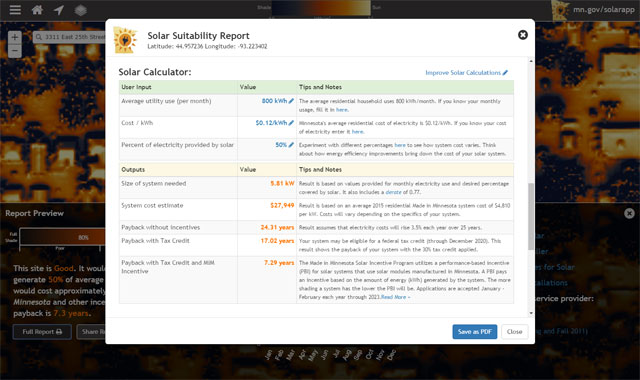 Screenshot of detailed suitability report on the app