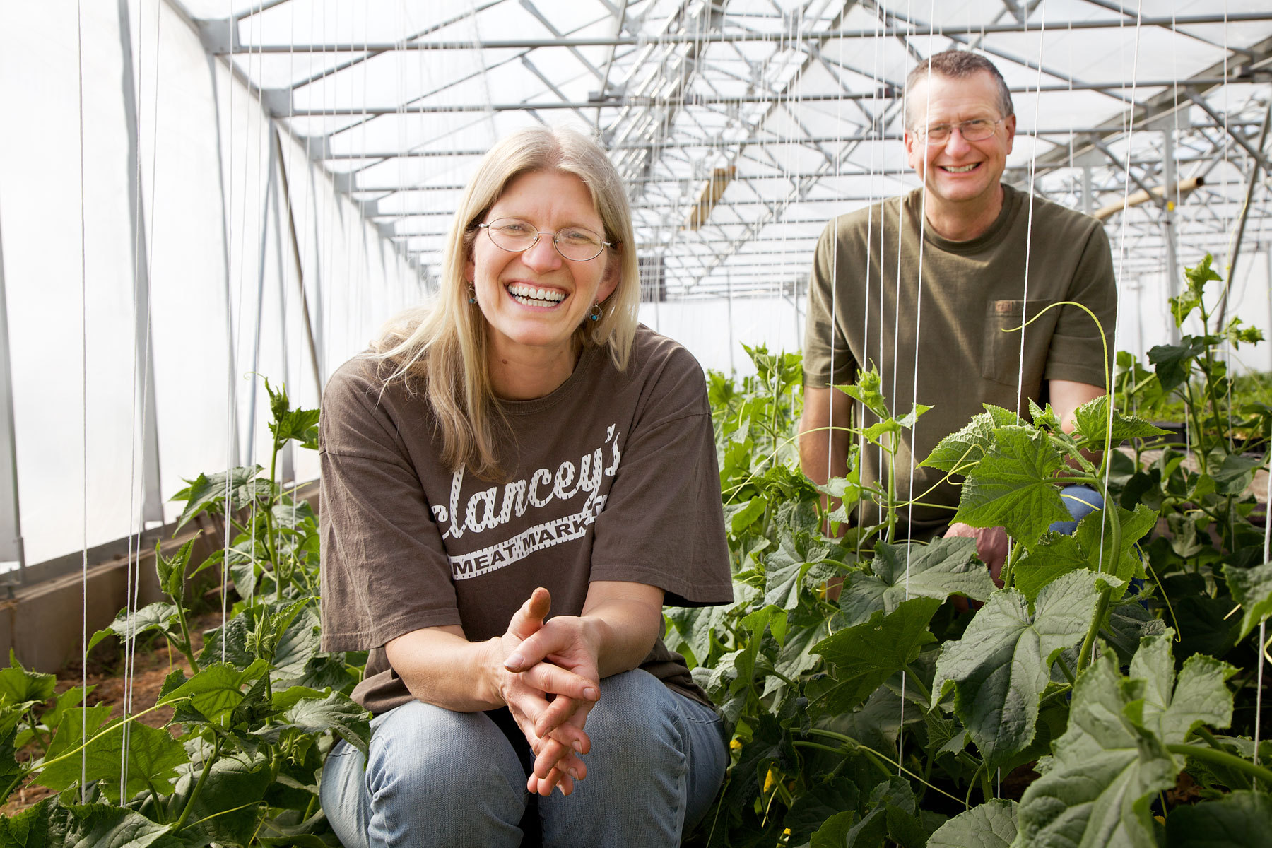 Sandy and Lonny Dietz in their greenhouse