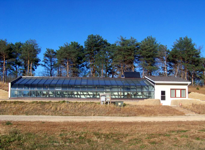 Bermed solar-heated greenhouse at Hazelnut Valley Farm