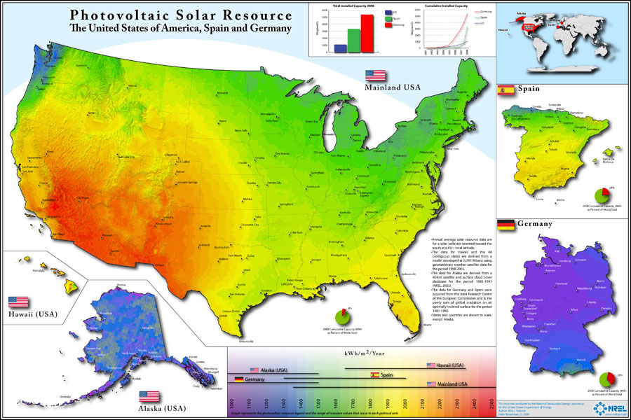 United States solar resource compared to other countries