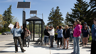 Solar-powered bus shelter at Bemidji State University