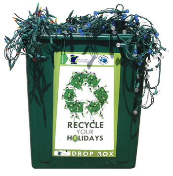 Bin of holiday lights to be recycled
