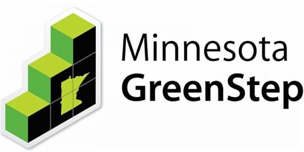 "The green stairs of the GreenStep Cities logo to the left of the words ""Minnesota GreenStep"""
