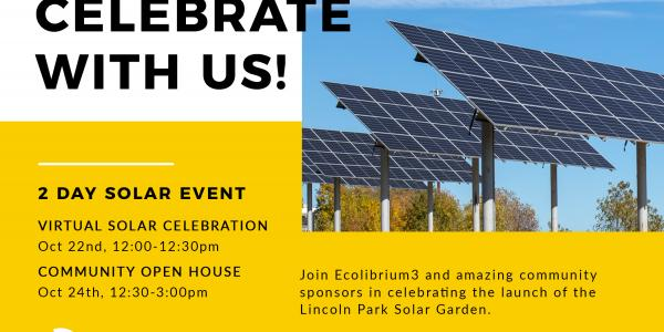 solar panels; flyer for event