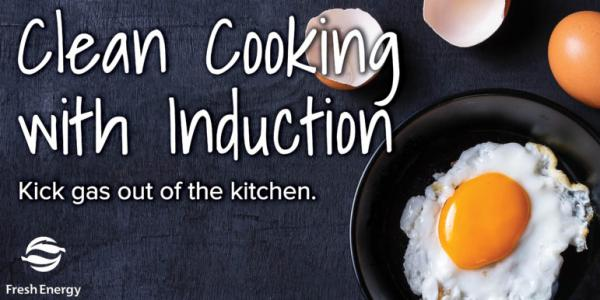 Eggs cooking on induction stove with promotional information listed