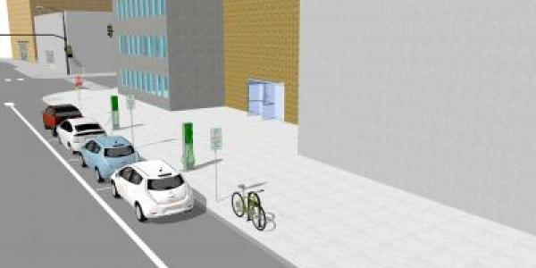 Graphic rendering of proposed EV charging station location