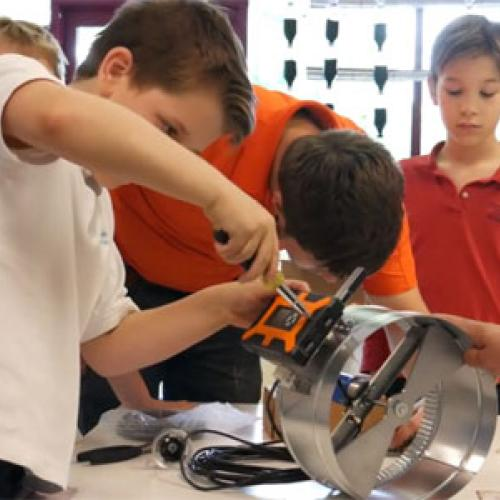 Students at Cyprus Classical Academy work on energy conservation project