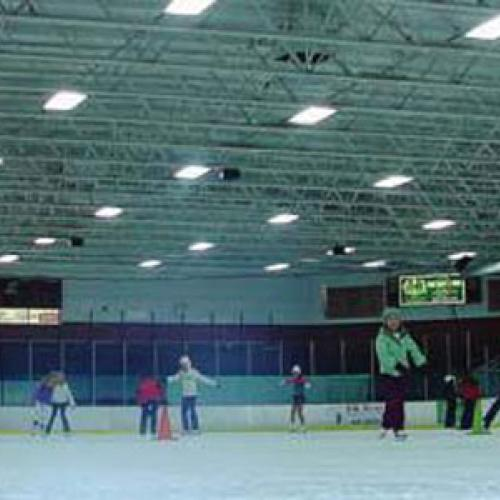 The Elk River Ice Arena with new, high-efficiency fluorescent ceramic metal halides and LED lighting fixtures.