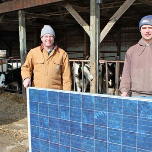 The Gibbs family installed a 39,840-watt PV solar system on the south side of a livestock barn