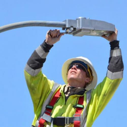 Installing LED street lights | Photo courtesy Lyon-Lincoln Electric
