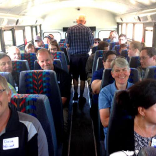 Bus tour of Warren, MN clean energy projects