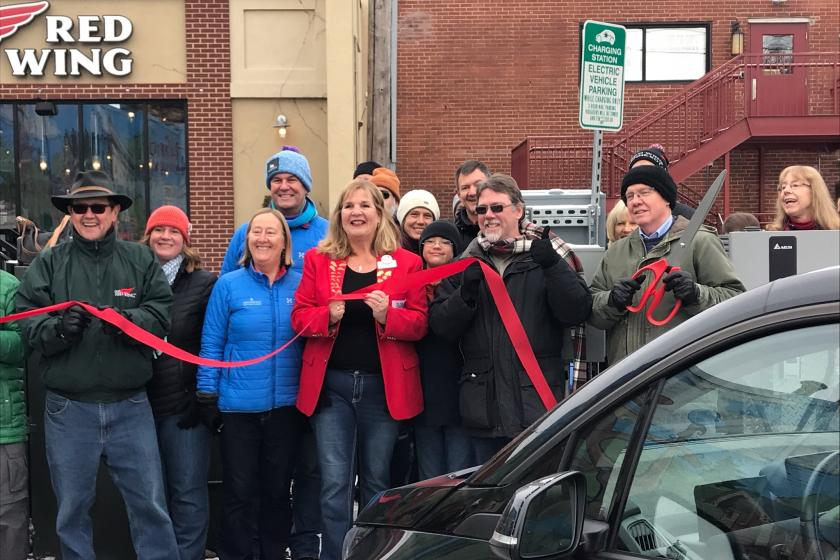 red wing ev charger ribbon cutting