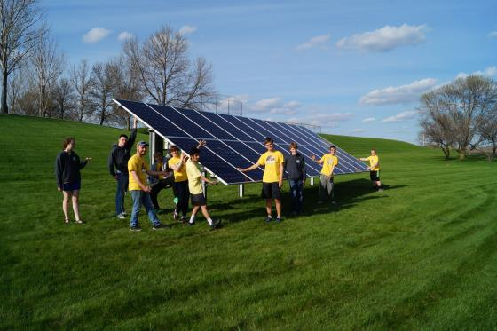 Plaid Pillagers Robotics Team with solar array