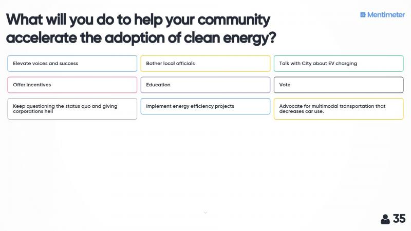 What will you do to help your community accelerate the adoption of clean energy?