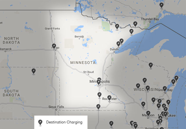 Map of destination charging stations in Minnesota