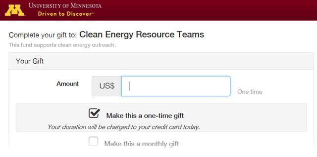 University of Minnesota Foundation screenshot