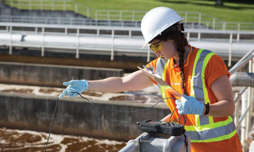 Testing at a wastewater treatment facility